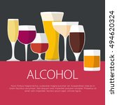 flat design alcohol concept.... | Shutterstock .eps vector #494620324
