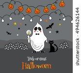 ghost  a kid in a halloween...   Shutterstock .eps vector #494626144