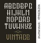 hand drawn vintage typeface.... | Shutterstock . vector #494636206