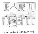 kitchen sketch paint. home hand ... | Shutterstock .eps vector #494639074