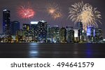 fireworks over miami skyline ... | Shutterstock . vector #494641579