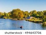 serpentine lake in hyde park ... | Shutterstock . vector #494643706