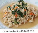 spicy fried chicken with basil... | Shutterstock . vector #494652310