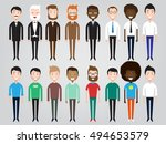set of diverse business people... | Shutterstock .eps vector #494653579