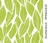 vector pattern with leaves.... | Shutterstock .eps vector #494661610