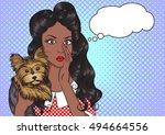 portrait of sexy african... | Shutterstock .eps vector #494664556