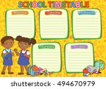 school timetable schedule with... | Shutterstock . vector #494670979