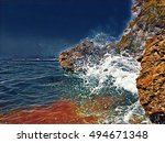 seaside view with huge rocks... | Shutterstock . vector #494671348