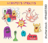 set of doodle monsters icons in ... | Shutterstock . vector #494685580