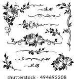 set of vector calligraphic... | Shutterstock .eps vector #494693308