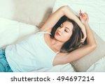 young woman portrait in bedroom ... | Shutterstock . vector #494697214