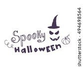 hand drawn card with scary face ...   Shutterstock .eps vector #494698564