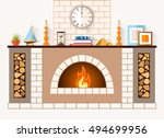 the design of the fireplace.... | Shutterstock .eps vector #494699956