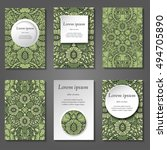 set of stylish business card... | Shutterstock .eps vector #494705890