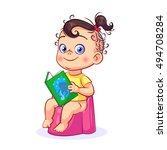 Cartoon Baby Girl Sitting On A...