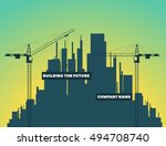 two tower cranes on a... | Shutterstock .eps vector #494708740