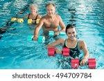 happy active fitness mature man ... | Shutterstock . vector #494709784