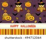 happy halloween pattern with...   Shutterstock .eps vector #494712064