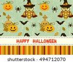happy halloween pattern with... | Shutterstock .eps vector #494712070