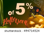 5 percent discount halloween.... | Shutterstock .eps vector #494714524