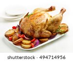whole roasted chicken on white... | Shutterstock . vector #494714956
