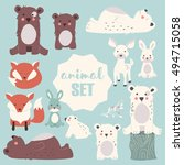 collection of cute forest and... | Shutterstock .eps vector #494715058