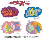 set of five graffiti sketches   ... | Shutterstock .eps vector #494718694