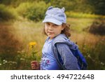 child girl on the background...   Shutterstock . vector #494722648