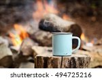 blue enamel cup of hot steaming ... | Shutterstock . vector #494725216