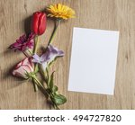 mockup with spring flowers and... | Shutterstock . vector #494727820