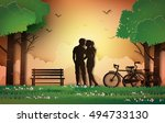 couple silhouette standing in... | Shutterstock .eps vector #494733130