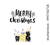 merry christmas unique holiday... | Shutterstock . vector #494736718