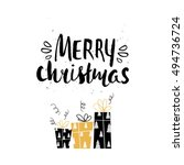 merry christmas unique holiday... | Shutterstock .eps vector #494736724