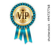 gold vip member rosette with... | Shutterstock .eps vector #494737768
