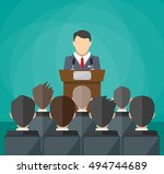 orator speaking from tribune.... | Shutterstock .eps vector #494744689