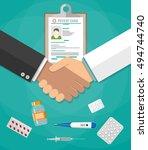 handshake between doctor and... | Shutterstock .eps vector #494744740