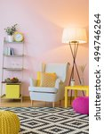 cozy room in light pink with... | Shutterstock . vector #494746264
