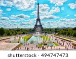 eiffel tower and fountain at... | Shutterstock . vector #494747473