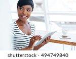 attractive afro american...   Shutterstock . vector #494749840