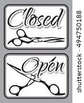 set of retro door signs for... | Shutterstock .eps vector #494750188