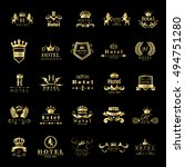 hotel logo set   isolated on... | Shutterstock .eps vector #494751280