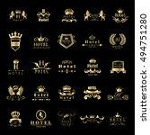 hotel logo set   isolated on... | Shutterstock .eps vector #494751280