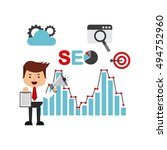 search engine optimization flat ... | Shutterstock .eps vector #494752960