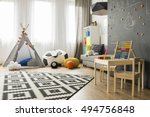 spacious child room with window ... | Shutterstock . vector #494756848