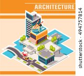 isometric town street with... | Shutterstock .eps vector #494757814