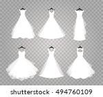 wedding dresses on transparent... | Shutterstock .eps vector #494760109