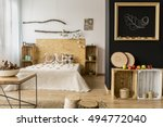 light bedroom with black and... | Shutterstock . vector #494772040