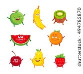 funny fruits characters cartoon ... | Shutterstock .eps vector #494782870