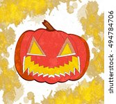 halloween pumpkin with scary... | Shutterstock .eps vector #494784706