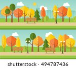two autumn or fall park banners ... | Shutterstock .eps vector #494787436